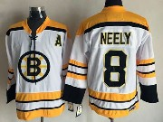 Mens Nhl Boston Bruins #8 Neely White (yellow Shoulder) Throwbacks Jersey