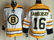 Mens Nhl Boston Bruins #16 Sanderson White (yellow Shoulder) Throwbacks Jersey
