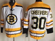 Mens Nhl Boston Bruins #30 Cheevers White (yellow Shoulder) Throwbacks Jersey