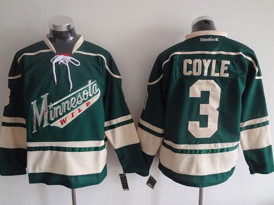 Mens Reebok Nhl Minnesota Wild #3 Coyle Green Jersey