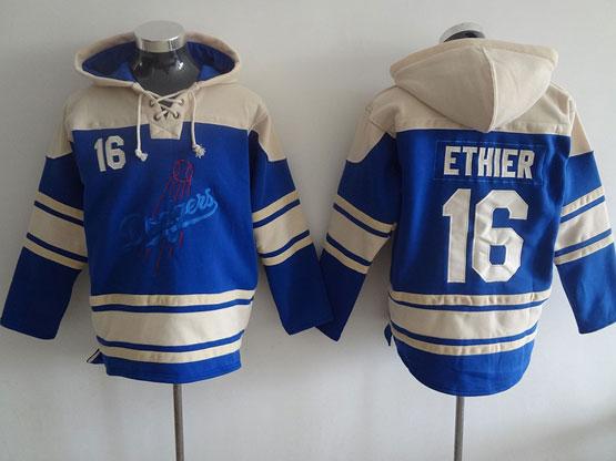 Mens Mlb Los Angeles Dodgers #16 Ethier Blue Hoodie Jersey