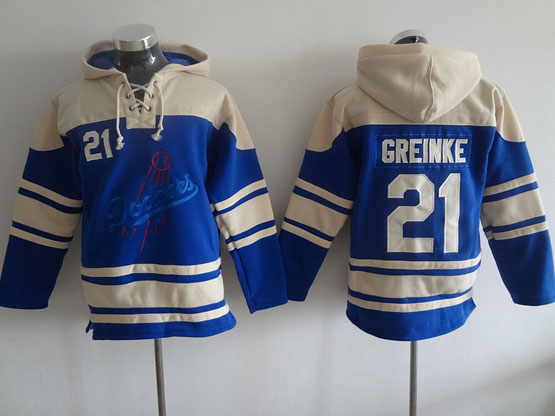 Mens Mlb Los Angeles Dodgers #21 Greinke Blue Hoodie Jersey