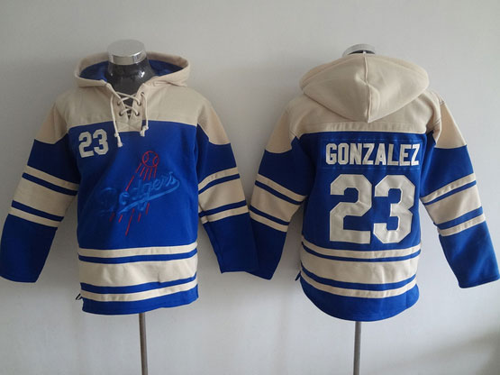 Mens Mlb Los Angeles Dodgers #23 Gonzalez Blue Hoodie Jersey