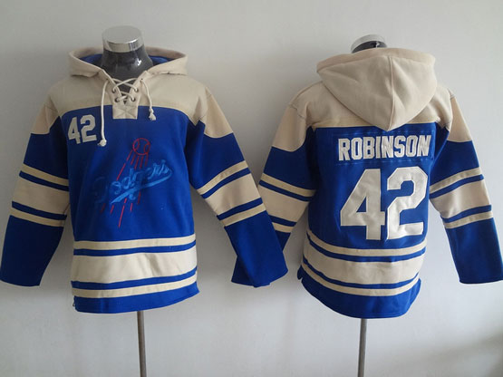 Mens Mlb Los Angeles Dodgers #42 Robinson Blue Hoodie Jersey