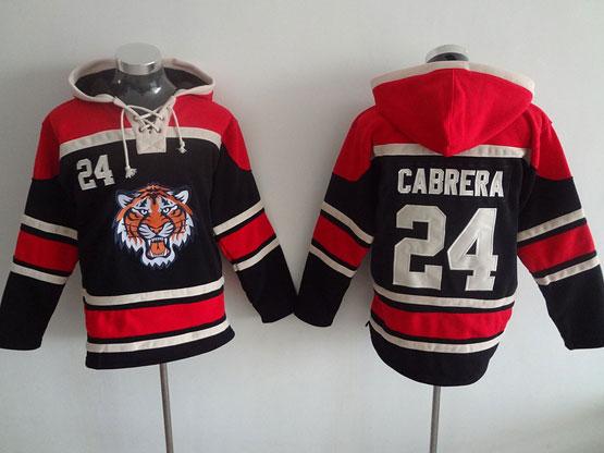 Mens Mlb Detroit Tigers #24 Cabrera Black Hoodie Jersey