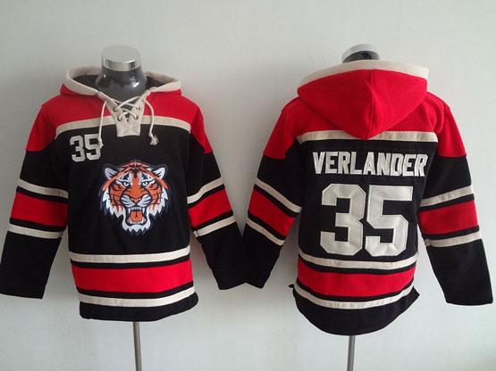 Mens Mlb Detroit Tigers #35 Verlander Black Hoodie Jersey