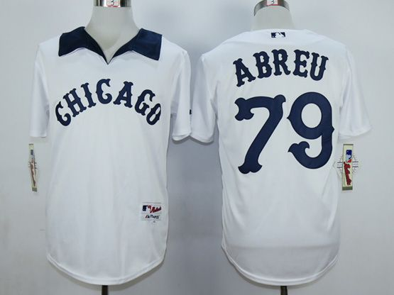 Mens Mlb Chicago White Sox #79 Abreu White 1976 Turn Back The Clock Throwbacks Pullover Jersey