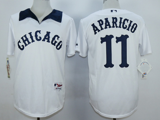Mens Mlb Chicago White Sox #11 Aparicio White 1976 Turn Back The Clock Throwbacks Pullover Jersey