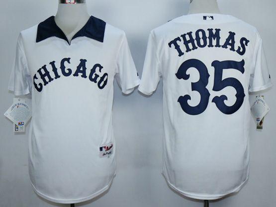 Mens Mlb Chicago White Sox #35 Thomas White 1976 Turn Back The Clock Throwbacks Pullover Jersey