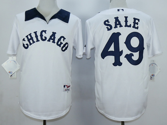 Mens Mlb Chicago White Sox #49 Sale White 1976 Turn Back The Clock Throwbacks Pullover Jersey