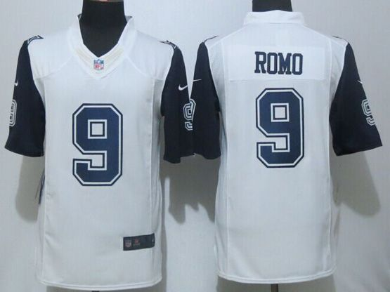 Mens Nfl Dallas Cowboys #9 Romo White (2015 New) Throwbacks Limited Jersey