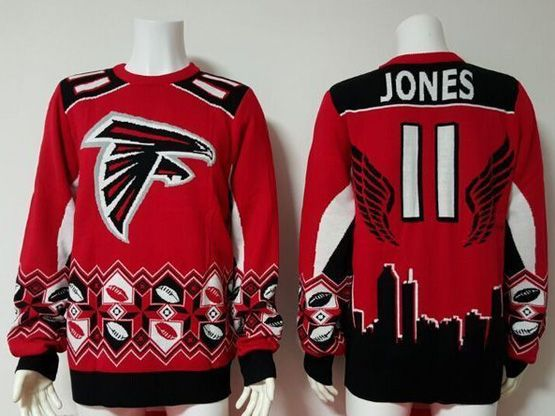 Mens Nfl Atlanta Falcons #11 Jones Red Crew Neck Pullover Ugly Sweater