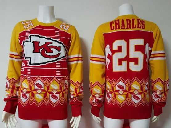 Mens Nfl Kansas City Chiefs #25 Charles Red Crew Neck Pullover Ugly Sweater