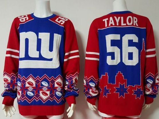 Mens Nfl New York Giants #56 Taylor Red Pullover Ugly Sweater