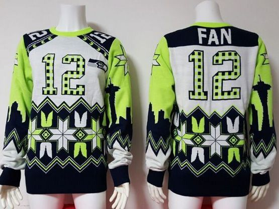Mens Nfl Seattle Seahawks #12 Fan White Pullover Ugly Sweater