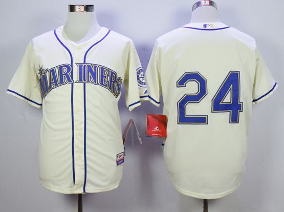Mens Mlb Seattle Mariners #24 Griffey Cream Jersey