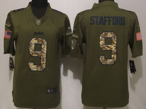 Mens Nfl Detroit Lions #9 Stafford Green Salute To Service Limited Jersey