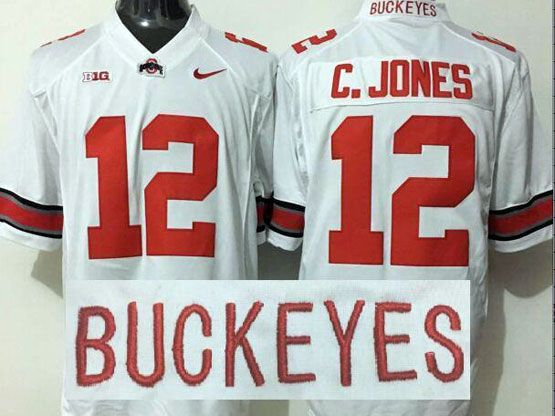 mens ncaa nfl Ohio State Buckeyes #12 Cardale Jones white jersey