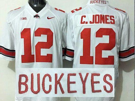 Mens Ncaa Nfl Ohio State Buckeyes #12 C.jones White Jersey