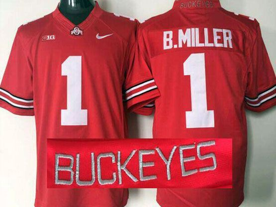 Mens Ncaa Nfl Ohio State Buckeyes #1 B.miller Red (collar Team Name) Jersey