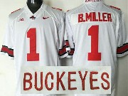 Mens Ncaa Nfl Ohio State Buckeyes #1 B.miller White Jersey