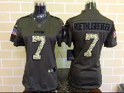Women  Nfl San Francisco 49ers #7 Roethlisberger Green Salute To Service Limited Jersey