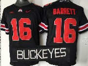 Mens Ncaa Nfl Ohio State Buckeyes #16 Barrett Black (red Number Collar Team Name) Jersey