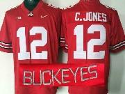 mens ncaa nfl Ohio State Buckeyes #12 Cardale Jones red (collar team name) jersey
