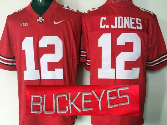 mens ncaa nfl Ohio State Buckeyes #12 Cardale Jones red (collar team name) jersey