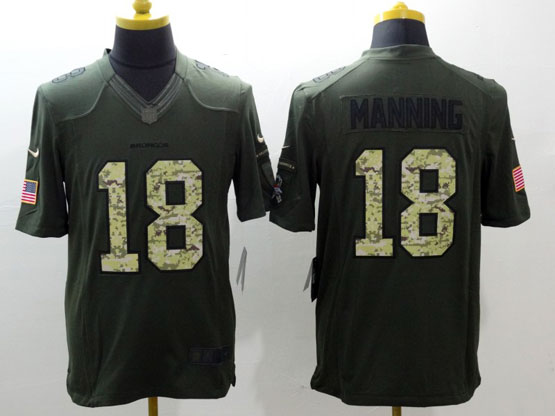Mens Nfl Denver Broncos #18 Manning Green Salute To Service Limited Jersey