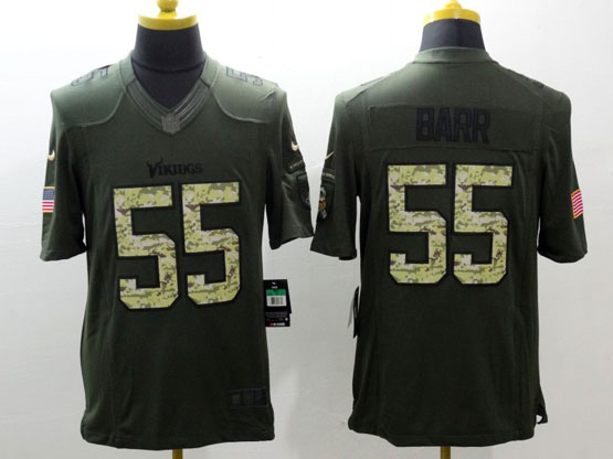 mens nfl Minnesota Vikings #55 Anthony Barr green salute to service limited jersey