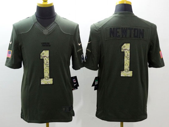 Mens Nfl Carolina Panthers #1 Cam Newton Green Salute To Service Limited Jersey