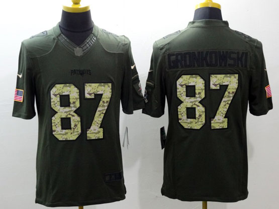 Mens Nfl New England Patriots #87 Gronkowski Green Salute To Service Limited Jersey