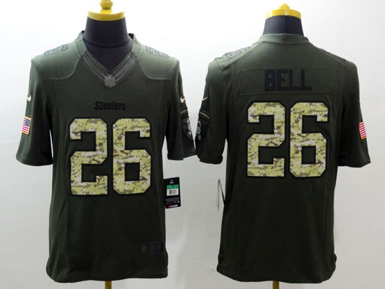 mens nfl Pittsburgh Steelers #26 Le'veon Bell green salute to service limited jersey