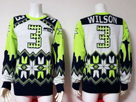 Mens Nfl Seattle Seahawks #3 Wilson White&blue Crew Neck Pullover Ugly Sweater