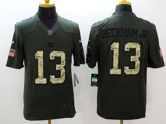 mens nfl New York Giants #13 Odell Beckham Jr green salute to service limited jersey