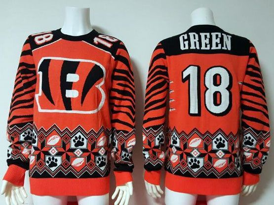 mens nfl Cincinnati Bengals #18 AJ Green orange pullover ugly sweater limited jersey