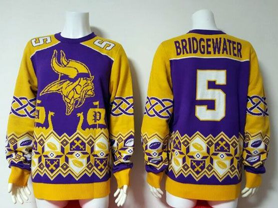 Mens Nfl Minnesota Vikings #5 Bridgewater Purple Crew Neck Pullover Ugly Sweater Limited Jersey