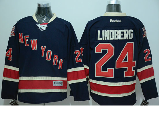 Mens reebok nhl new york rangers #24 lindberg dark blue 85th Jersey
