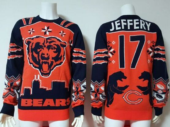 mens nfl Chicago Bears #17 Alshon Jeffery orange crew neck pullover ugly sweater