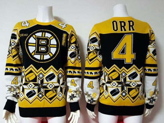 mens nhl Boston Bruins #4 Bobby Orr black crew neck pullover ugly sweater
