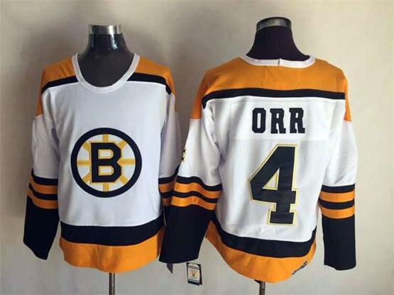 mens nhl Boston Bruins #4 Bobby Orr white throwbacks jersey