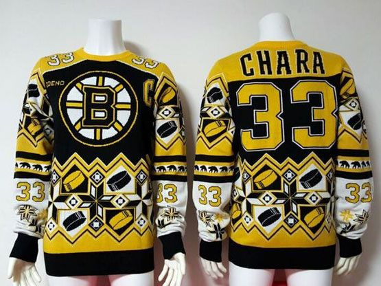 Mens Nhl Boston Bruins #33 Chara Black Crew Neck Pullover Ugly Sweater
