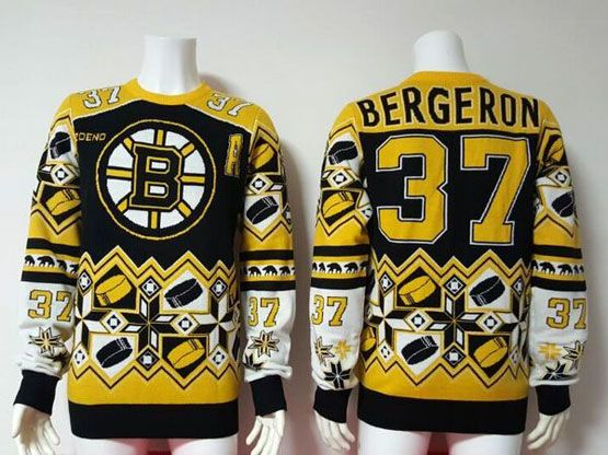 mens nhl boston bruins #37 Patrice Bergeron black crew neck pullover ugly sweater