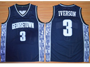 Mens Ncaa Nfl Georgetown Hoyas #3 Iverson Blue Jersey