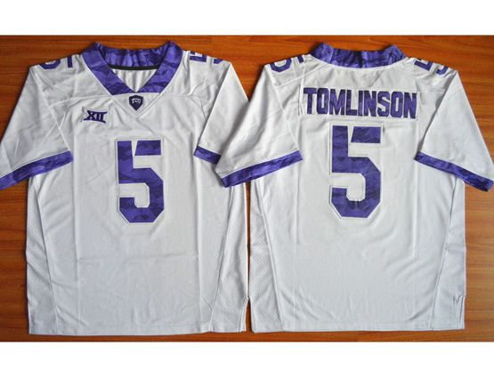 Mens Ncaa Nfl Tcu Horned Frogs #5 Tomlinson White Jersey