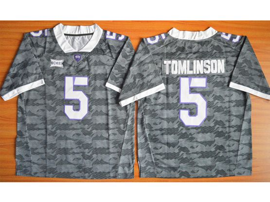 Mens Ncaa Nfl Tcu Horned Frogs #5 Tomlinson Gray Jersey