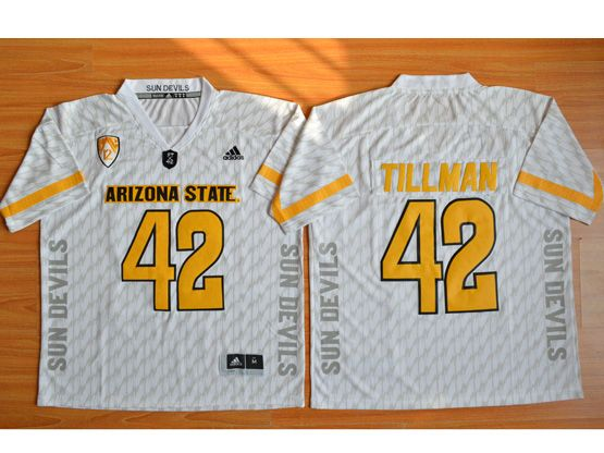 Mens Ncaa Nfl Arizona State Sun Devils #42 Tillman White Jersey