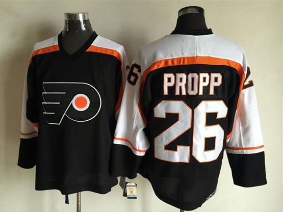 Mens Nhl Philadelphia Flyers #26 Propp Black Throwbacks Jersey
