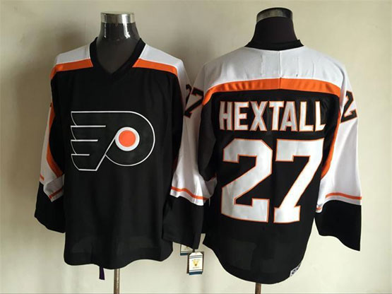 Mens Nhl Philadelphia Flyers #27 Hextall Black Throwbacks Jersey